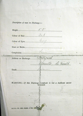 Description of Peter Henry at the time of his discharge