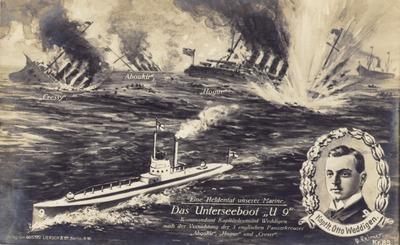 Feldpostkarte - Unterseeboot U9 Kaplt. Otto Weddigen