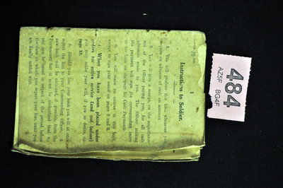 """Instructions to soldier"" belonging to Mortimer Hogan"