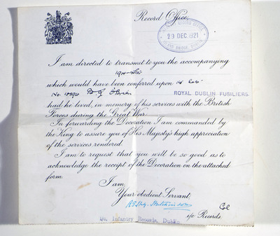 Letter advising family of decoration of Joseph O'Brien