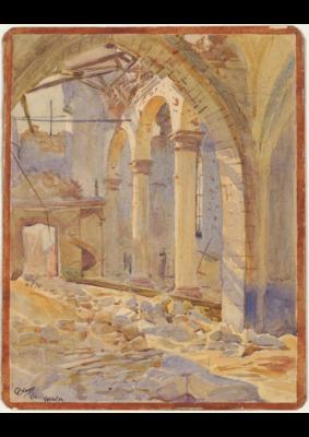 01-Aquarelle et un lavis représentant l'église de Vermelles, détruite, juin 1916
