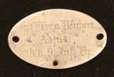 Erkennungs Marke Hauptmann Fr.Hr. v. Berchem