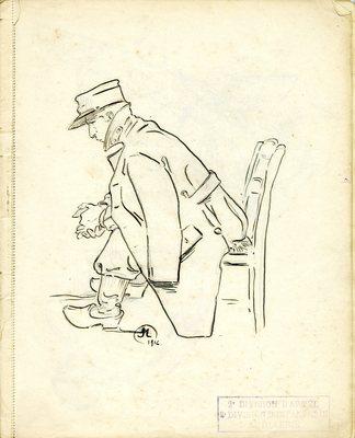 Dessin extrait d'un cahier réalisé entre 1916 et 1918