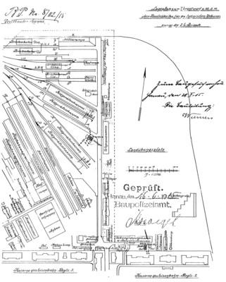 Lageplan des Hanauer Eisenbahn-Neben-Ersatz-Park der 2. Eisenbahn-Brigade